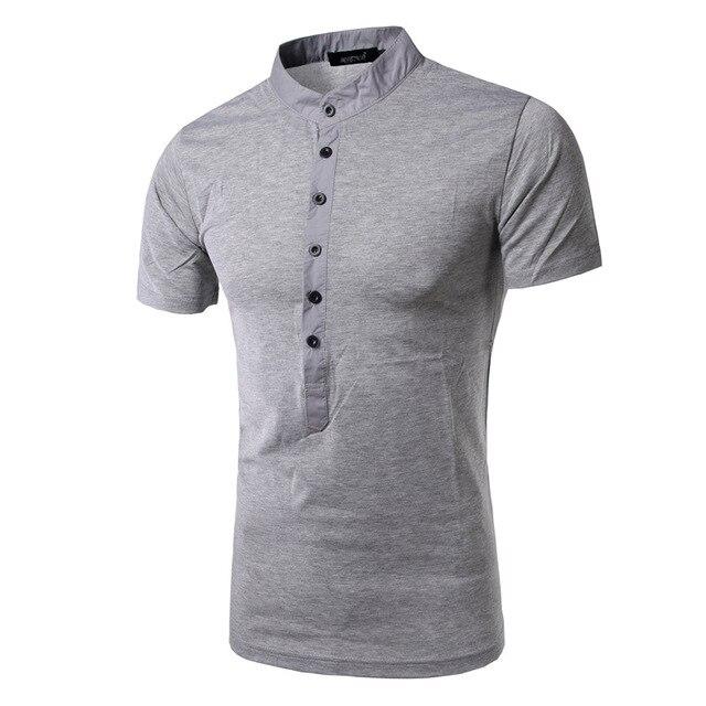e4497fe6ef4d6 New Slim T shirt Men Tee Shirt Homme 2016 Summer Fashion Button Cotton  Elastic Short Sleeve