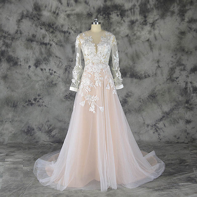 Online Shop 2019 hot sale special lace design Wedding Dress pink and ivory  color Bridal gown long sleeves wedding gown factory directly  839da4a92baa