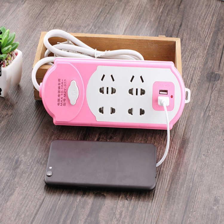 Elektryczne USB gniazdo zasilania wtyczka z 2 portami USB przedłużacz z dodatkowymi gniazdami wielofunkcyjny inteligentny listwa zasilająca 10A 250V 2500W magazynie