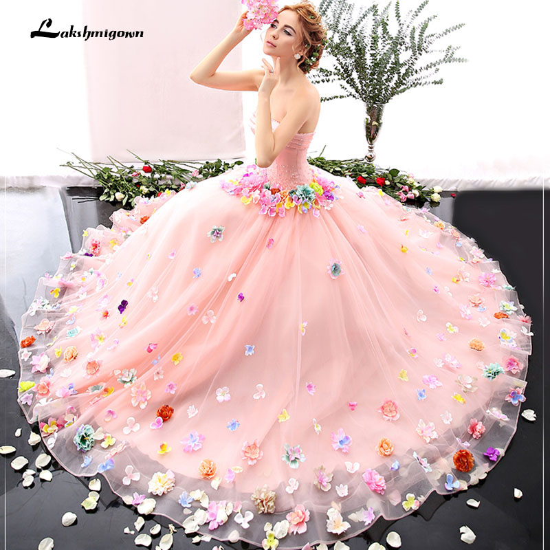 Low price 2018 romantic blushing pink flower fairy wedding dresses 2018 romantic blushing pink flower fairy wedding dresses new arrival strapless bridal gown ball gown junglespirit Images