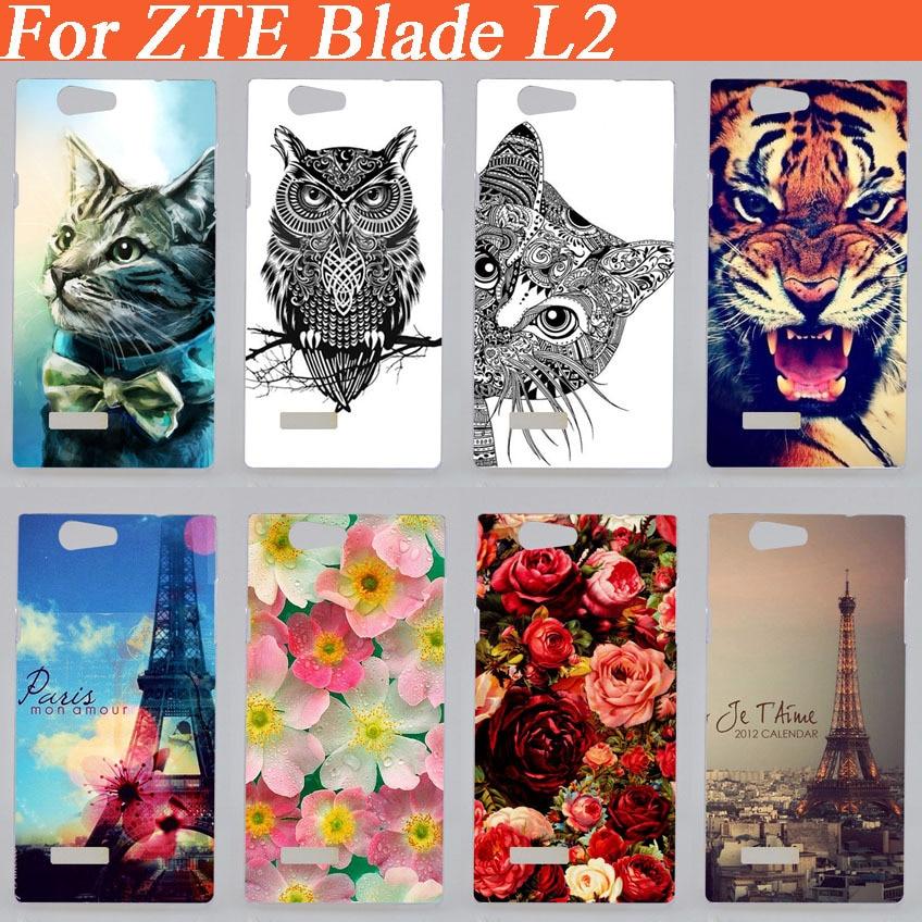 Hot diy Mencetak Kembali Tutup Kasus Untuk ZTE Blade L2 Dicat indah bunga Menara Eiffel hewan warna-warni Keras Kasus Freeshipping
