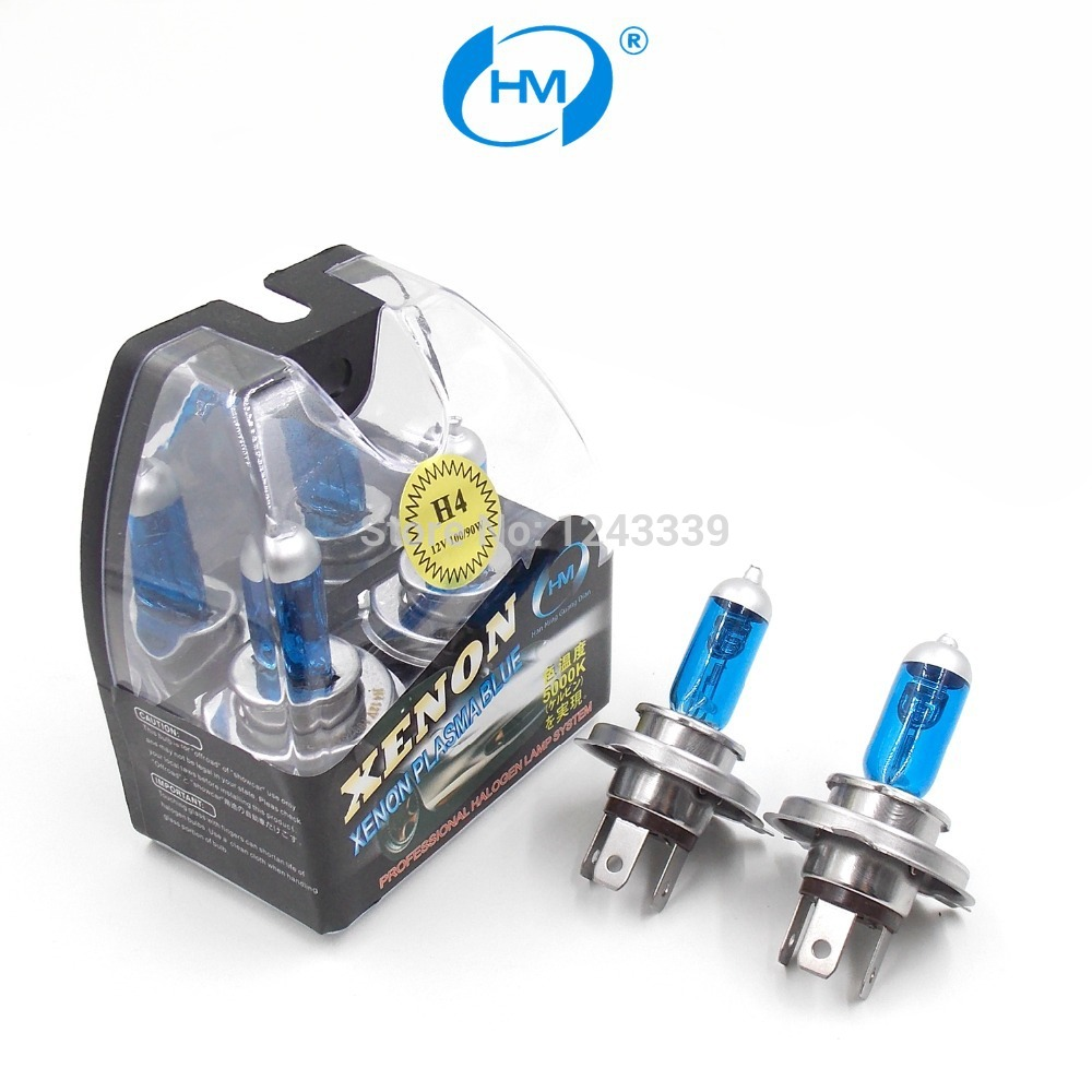HM Xenon Plasma Super white light H4 12V 90W/100W Halogen Automotive Car Head Light Bulbs Lamp (a Pair) 2pcs car head light lamp replacement super bright halogen xenon h4 bulbs 12vdc 100w blue glass white car styling light