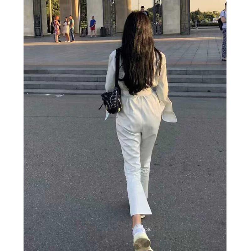 Американский уличный стиль для женщин твердые прямые ноги лодыжки длина umpsuits 2 цвета повседневное талии пояса одноцветны