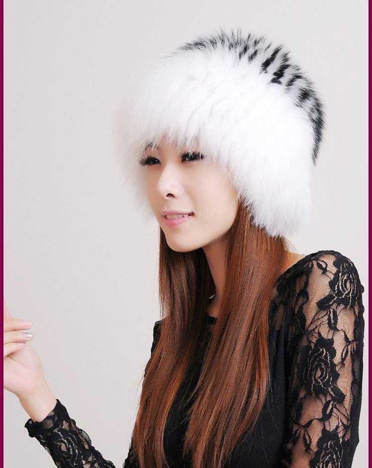 real fox fur hat new arrival knitted cap autumn fashion elegant winter warm women's black and white H909