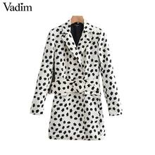 Vadim women stylish chic print blazer double breasted sashes long sleeve coats female