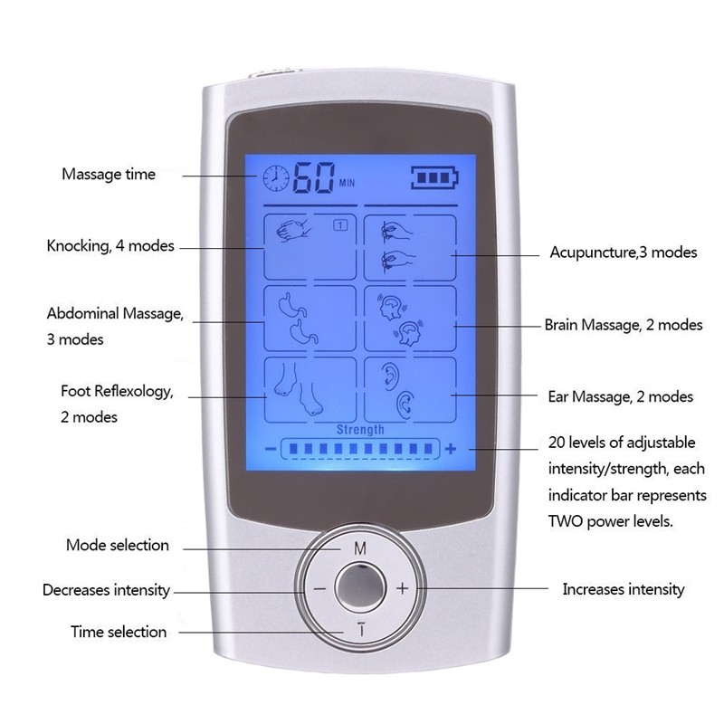16 modes Health Care Body Massager Dual Tens Machine Digital Electrical Therapy Acupuncture Massageador Stimulator Device 4 electrode tens acupuncture electric therapy massageador machine pulse body slimming sculptor massager apparatus body care