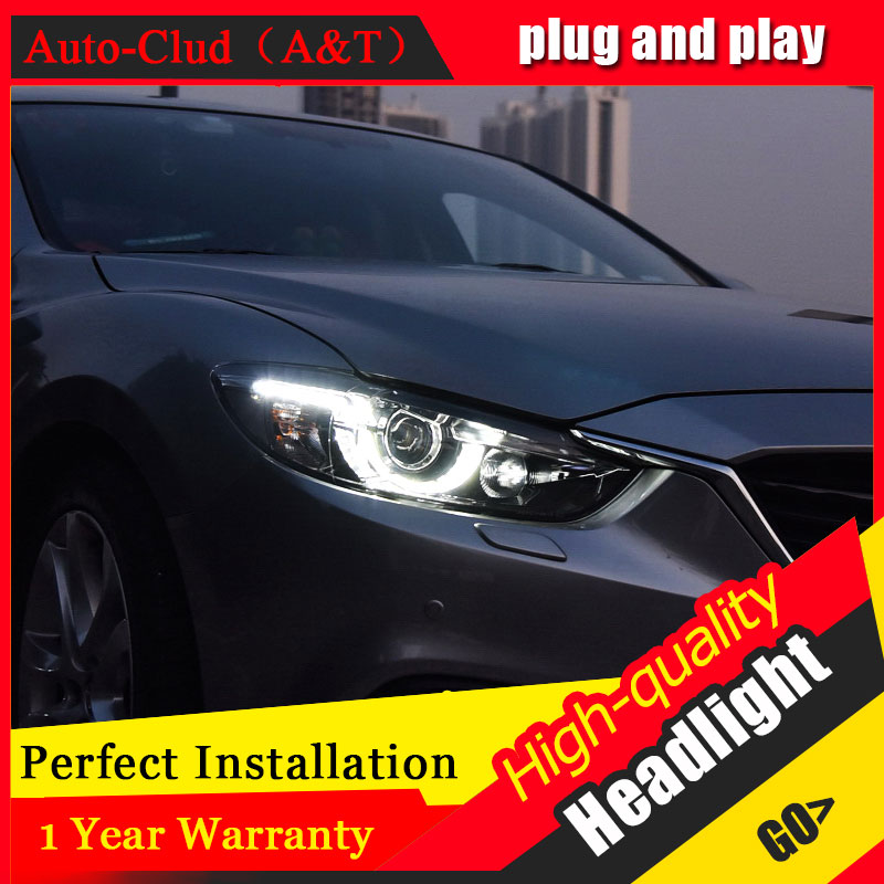 Auto Clud Car Styling For Mazda 6 headlights 2014-2017 For ATENZA head lamp led DRL front Bi-Xenon Lens Double Beam HID KIT car styling for mazda 3 headlights 2014 2016 mazda3 led headlight axela led drl turn signal drl h7 hid bi xenon lens low beam