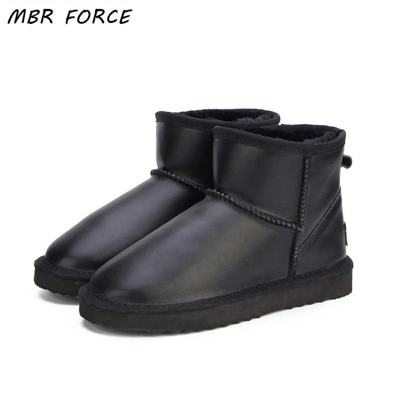 MBR FORCE Waterproof Genuine Leather Fur Winter  Boots Warm Wool Women Boots Classic Snow Boots Women Shoes Lady Ankle Shoes