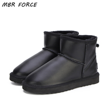 MBR FORCE Waterproof Genuine Leather Fur Winter  Boots Warm Wool Women Boots Classic Snow Boots Women Shoes Lady Ankle Shoes mbr force high quality women natural real fox fur snow boots genuine leather fashion women boots warm female winter shoes ship
