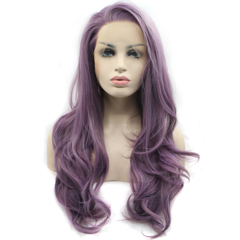 Sylvia Heat Resistant Fiber Natural Wave Purple Synthetic Lace Front Wigs Side Part For Women Long