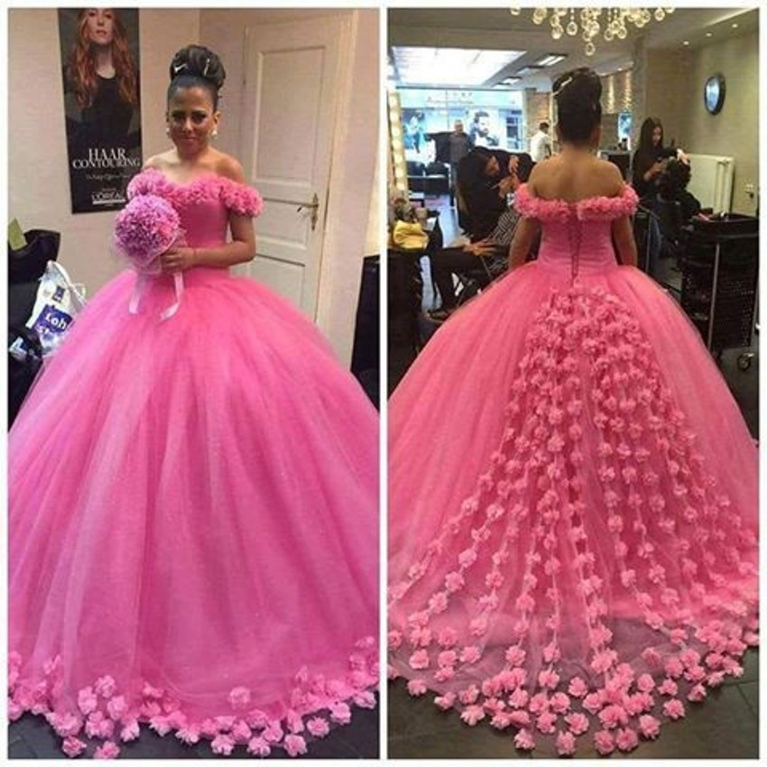 Red Ball Gown Wedding Dresses: Romantic Rose Red Long Wedding Dresses 2017 New Boat Neck