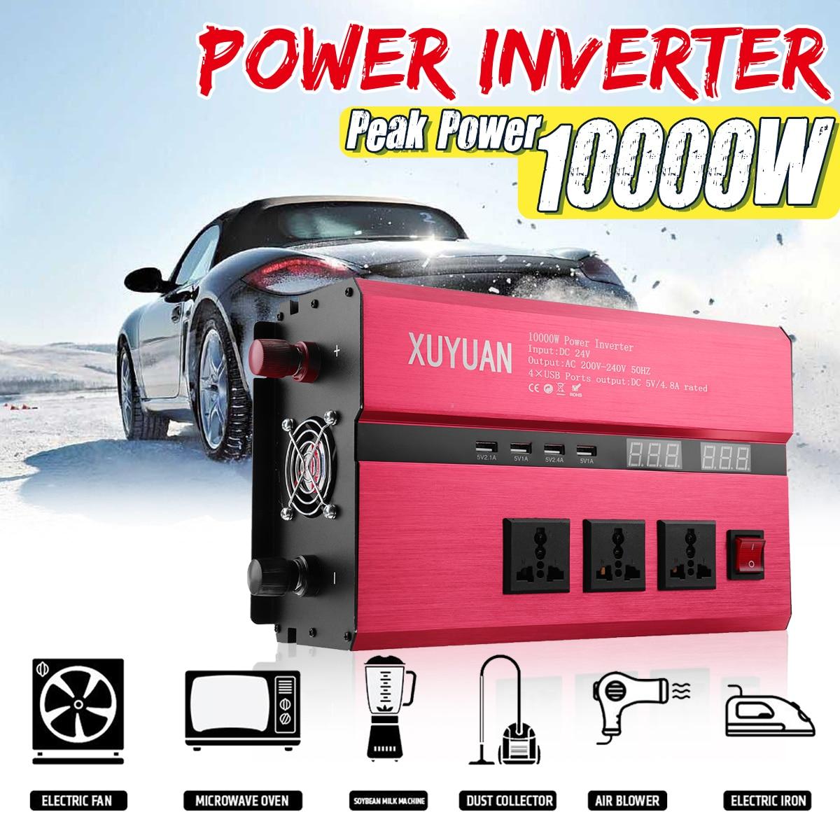 Solar Power Inverter 12V 24V 220V 10000W Sine Wave Inverter DC-AC Car Invensor Convertor Voltage Transformer USB DC Charger