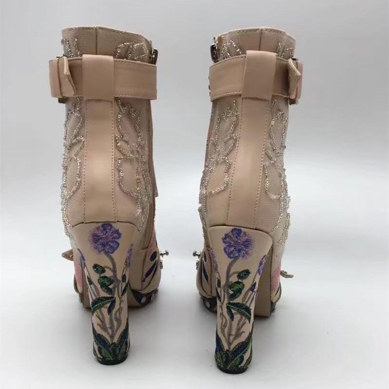 Las Alto Bordado Plataforma Con Cuero Talón Remaches rosado Negro De Otoño Mujer Genuino Rosa Jady Botas Del Zapatos Tobillo Mujeres Cordones q4fAtA