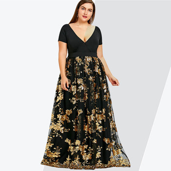 075e3d3e5a10 Vestido de fiesta de noche elegante de manga corta con cuello en V profundo  para mujer con lentejuelas florales de talla grande de Rosegal