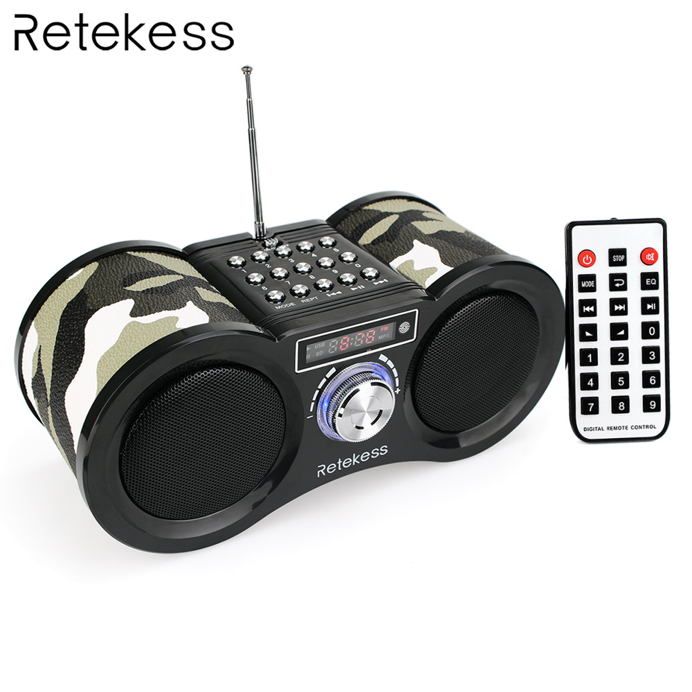 Retekess V113 FM Radio Stereo Digital Radio Receiver Speaker USB Disk TF Card MP3 Music Player V-113 Camouflage + Remote Control