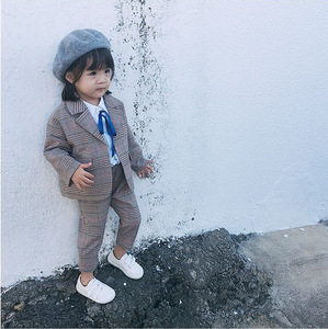 Image 4 - Spring Autumn Kids Blazer for Girls Casual Plaid Shirts Jacket Pants Toddler Girls Suits 2 3 4 5 6 Years Toddler Baby Clothing