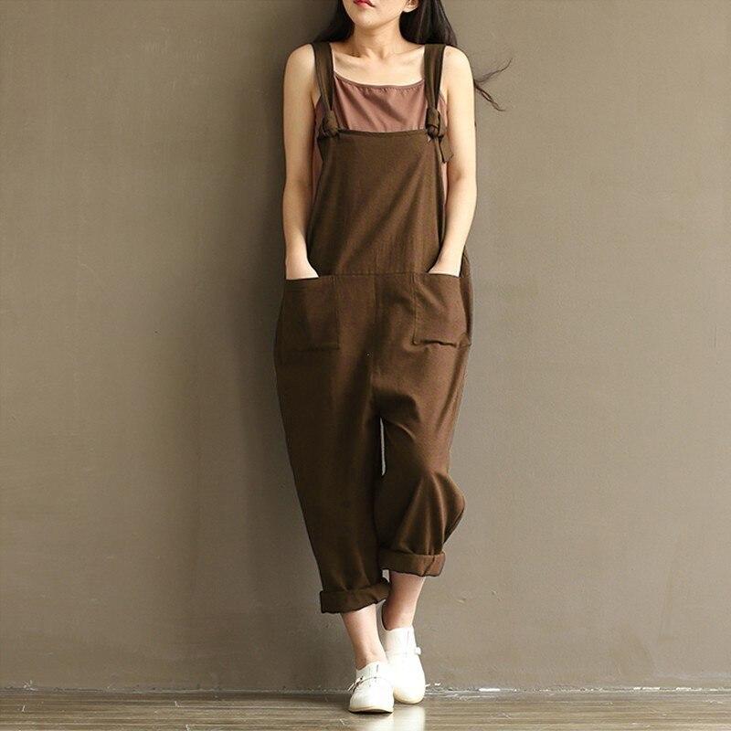 Zanzea kobiety moda jesień kombinezony 2017 casual pajacyki kobiet kombinezon kieszenie luźne stałe paysuits plus size 4