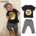 Crianças Verão 2017 2 pcs Bebê Recém-nascido Infantil Meninos Roupas Miúdo T-shirt Tops + Calças Outfits Define 0-24 Conjunto de Roupas infantis