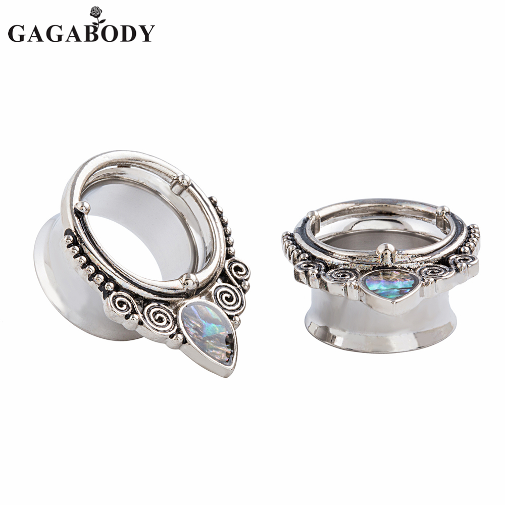 GAGABODY 2018 New Silver Color Water Drop Shap Ear Plugs 1 Pair 8mm to 25mm Ear Plugs Tunnels Piercing Reamer Earring