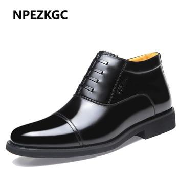 NPEZKGC 2018 New Designer Winter Shoes Men's Boots,Geniune Leather Wool Inside Hot Warm Snow Shoes Man Leather Ankle Boots