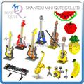 Mini Qute WTOYW LOZ instrumento musical fruta manzana Violin Bass plástico ladrillos edificio block modelo niños de juguetes educativos modelo