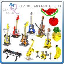 Mini Qute WTOYW LOZ musical instrument Fruit apple Violin Bass plastic building block bricks model kids model educational toy