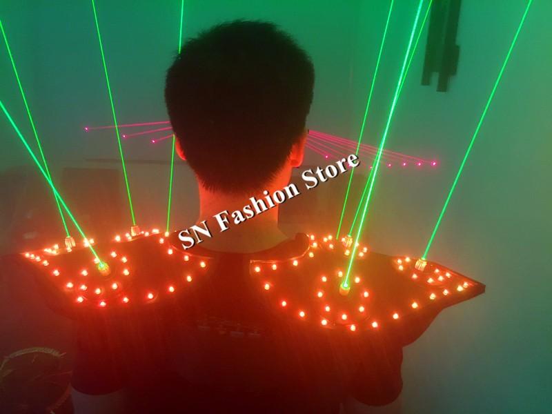 T16 Colorful light ballroom laser vest dj laser costumes dance wears laser glasses red laser suit led clothes shoulder led vest 20