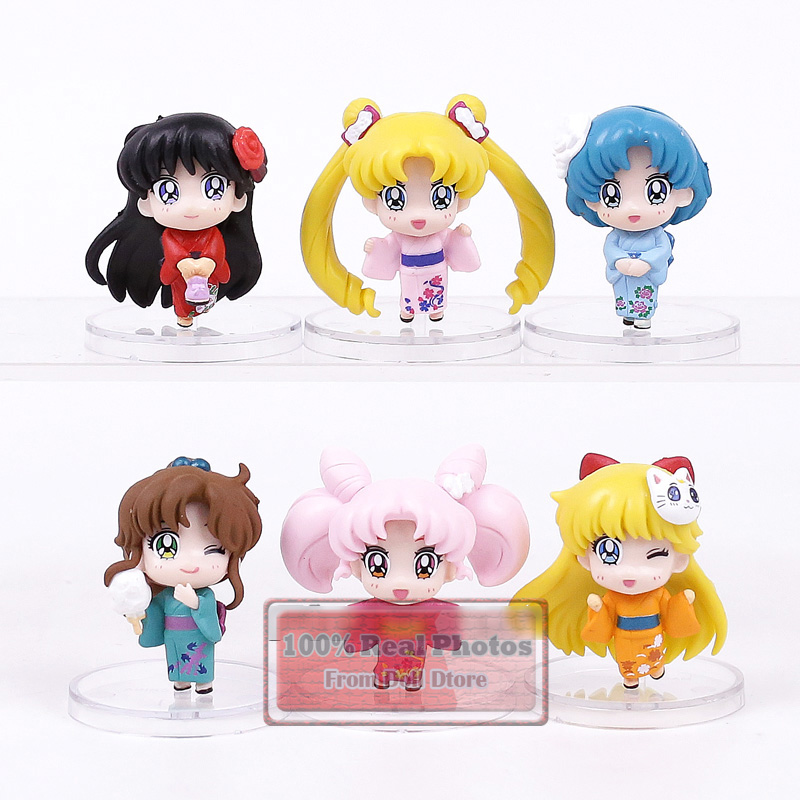 5CM 6pcs/lot 2017 NEW Arrival sailor moon kimono ver Q version action figure set collect ...
