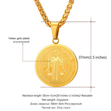 Christian Jewelry Saint Benedict Medal Pendant Men  Stainless Steel Religious Catholic Jewelry