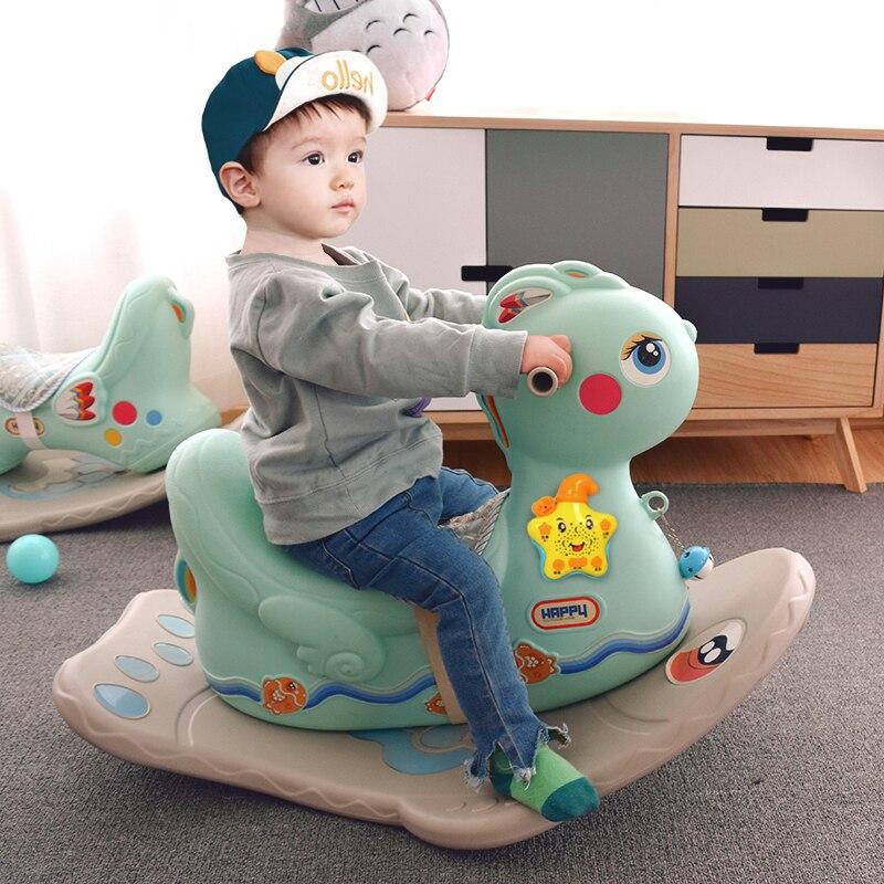 Jouet pour enfants cheval à bascule épaissi plastique bébé chaise à bascule Animal à bascule balançoire siège Rocker nouveau-né bébé videurs 1 ~ 6 Y