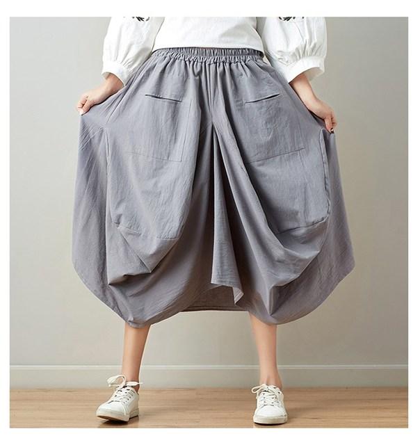 3d96199356dbe 2018 Vintage Big Pockets Cotton Linen Trousers Casual Loose Wide Leg Pants  Plus Size Elastic Waist Skirt Pants