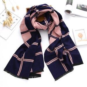 Image 5 - Роскошный брендовый зимний шарф 2020, кашемировые шарфы для женщин, шали и палантины, клетчатое плотное теплое мягкое одеяло большого размера, женское одеяло