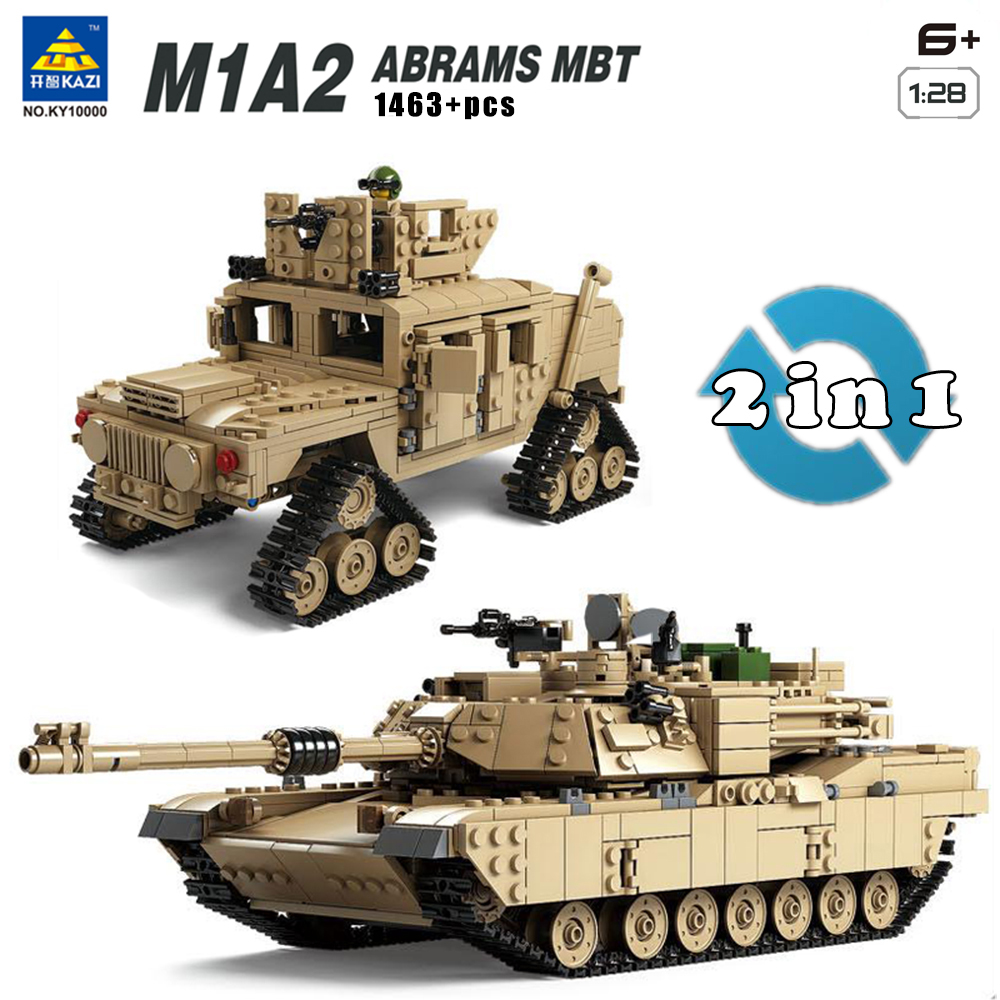 Kazi Military M1A2 Tank Collection Series Trans Toys 1:28 ABRAMS MBT  HUMMER Model Building kits Blocks compatible with lego 8 in 1 military ship building blocks toys for boys