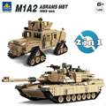 Kazi Military M1A2 Tank Collection Series Trans Toys 1:28 ABRAMS MBT  HUMMER Model Building kits Blocks compatible with lego