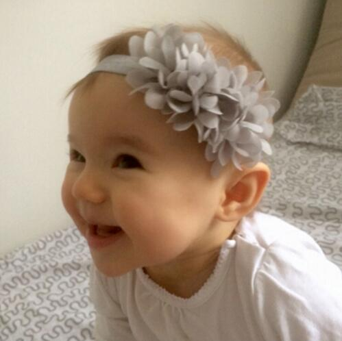 JRFSD Fashion Newborn Cute Kids Chiffon 3 Flower Headband Lace Headband Knitting Elastic Hair Band Hair Accessories shanfu women zebra stripe sinamay fascinator feather headband fashion lady hair accessories blue sfc12441