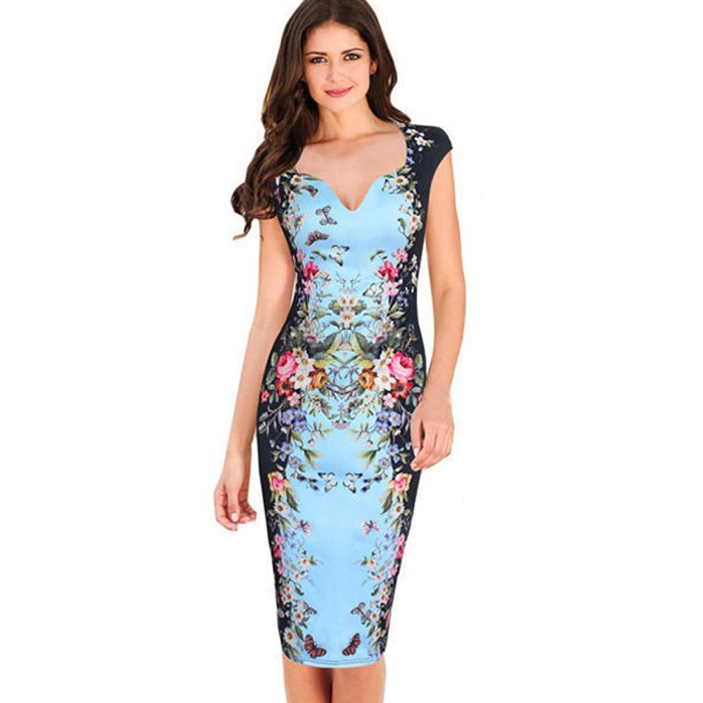 ac60af3ec7ae Fashion Women Floral Dress Lady Elegant Vintage Sheath Bodycon Pencil Dress  Ladies Party Work Office Formal Dresses Knee-Length