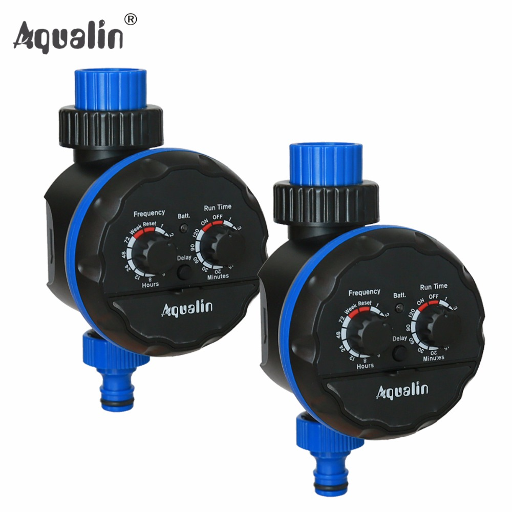 2pcs Waterproof Irrigation Garden Water Timer Ball Valve Controller for Garden Yard with Rain Delay Function