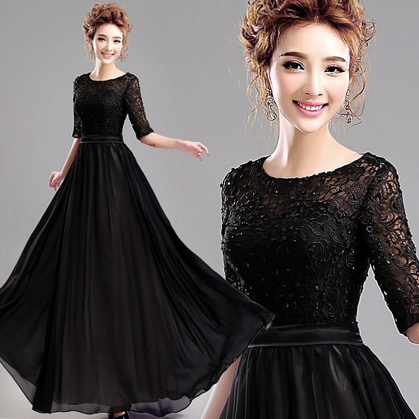 Half Sleeves A-line Formal Gown Vestido De Festa Robe De Soiree New Arrival Black Lace Chiffon Beading Mother Of The Bride Dress
