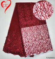 KK Wine Red Net Fabric 2017 Latest African Embroidery French Lace High Quality Beaded Lace For