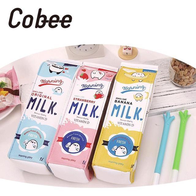 Cobee Lustige Nette Cartoon Milch Box Pu Leder Tasche Make Up Tasche