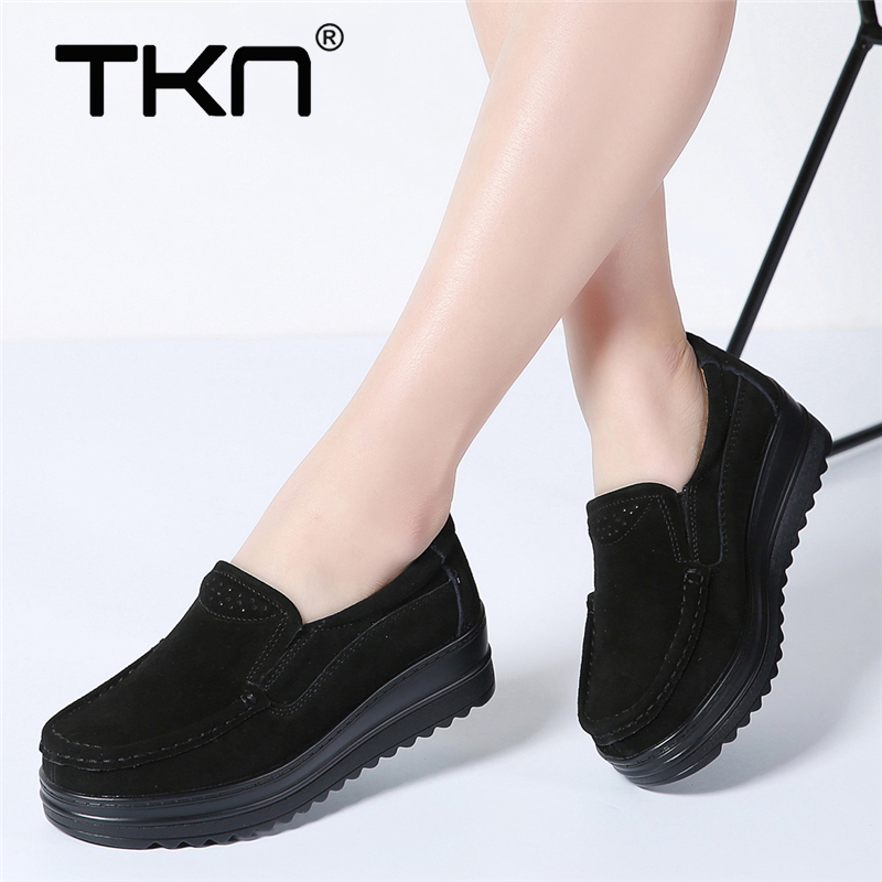 Women Winter Flats Thick Soled   Leather     Suede   Platform Sneakers Shoes Ladies Casual Tenis Feminino Lace Up Flat Creepers 890