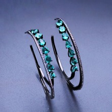 Trendy Green Stone 48mm Large Round Hoop Earring with Cubic Zirconias Big Circle Earring for Fashion Women Jewelry EGY003582