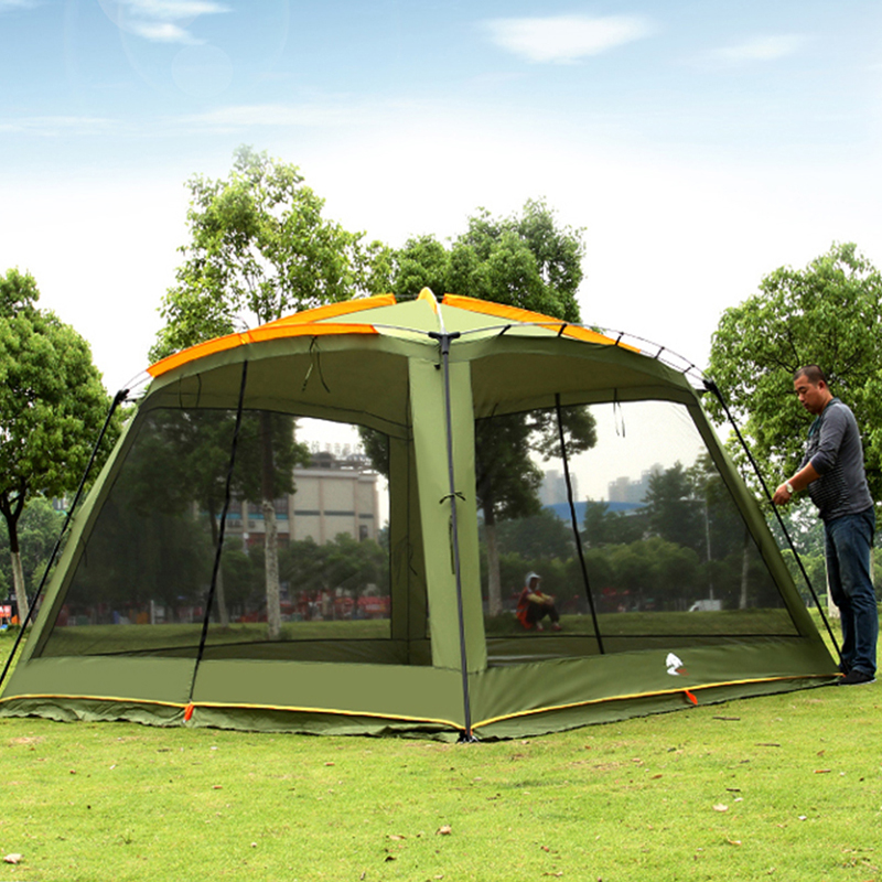 Ultralarge 365*365*220 CM avec moustiquaire Camping tente grand Gazebo abri soleil plage tente Barraca