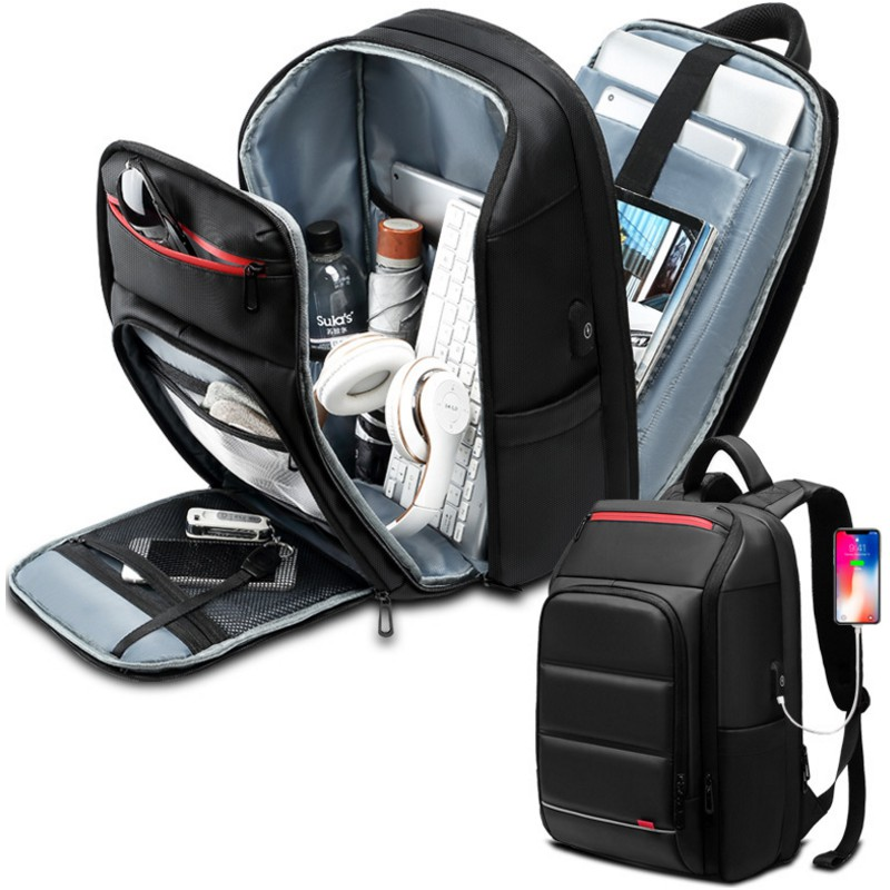 Men's Efficient Waterproof Backpacks 15.6 Inch Shockproof Business Laptop School Bags With USB Charging Port Travel Backpacks