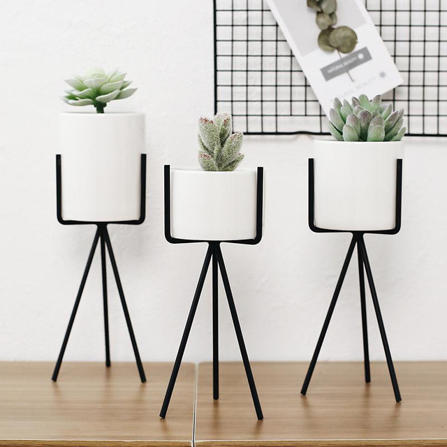 1Set/2pcs Modern Nordic Style Ceramic Black Iron Art Vase Minimalist Plant vase For Home OfficeRoom Coffeehouse Decoration G004 1
