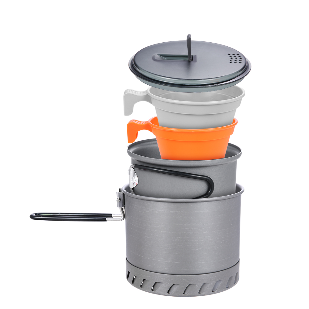 Portable Camping Cookware Kit 4Pcs for Hiking Backpacking 4 Piece Lightweight Durable Pot Cup Bowls Camping Stove-in Outdoor Stoves from Sports & Entertainment
