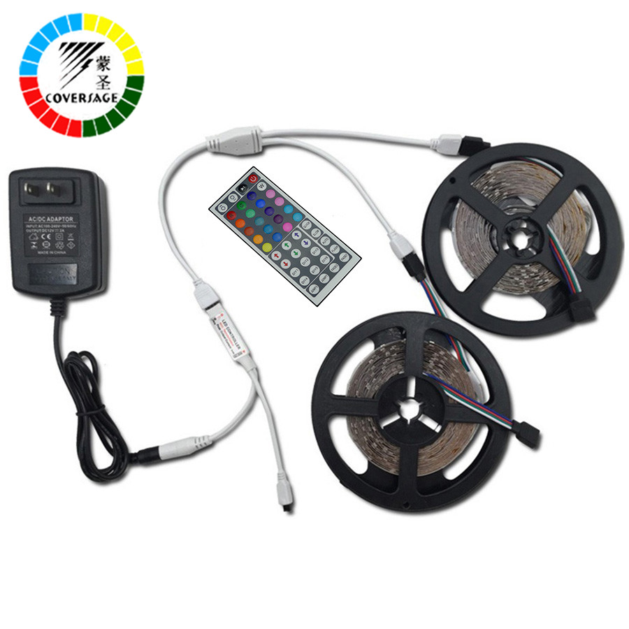 Coversage RGB 5050 10M 600Leds Led Strip IP65 Waterproof Light Ceiling DC12V 6A With Remote Controller Home Decoration Lamp 10m 5m 3528 5050 rgb led strip light non waterproof led light 10m flexible rgb diode led tape set remote control power adapter