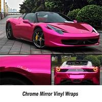 High Stretchable Rose Red Chrome Air Bubble Free Mirror Vinyl Wrap Film Sticker Sheet Emblem Car
