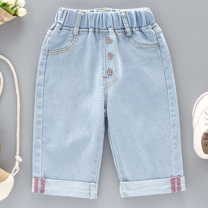 DIIMUU Summer Fashion Boys Girls Jeans Solid Casual Mid Denim Pants Light Washed Children Clothing Button Loose Long Trousers in Jeans from Mother Kids