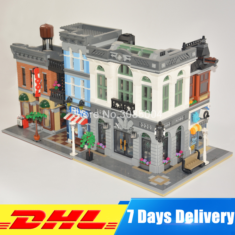 DHL LEPIN 15001 Brick Bank 10251 +15011 The Detectives Office 10197 Model Building Kits Blocks Bricks Toys For Children Gifts